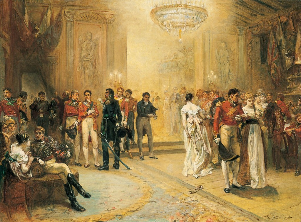 This romantic portrayal of the Duchess of Richmond's ball was painted many years later in the 1870s by Robert Alexander Hillingford. Image: https://firstnighthistory.wordpress.com/2015/06/15/on-this-day-the-duchess-of-richmonds-ball-in-1815/