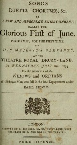 Title page of Songs from the performance of Glorious First of June, 1794.