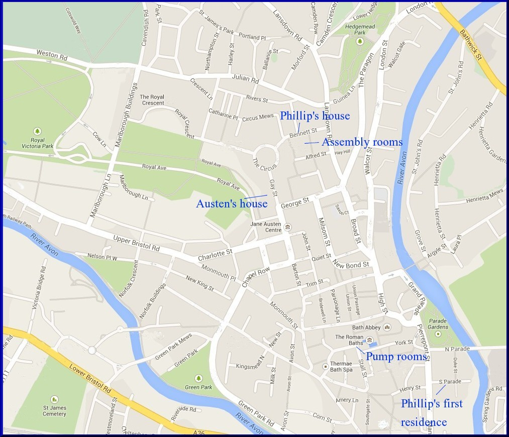 Map of Bath with border