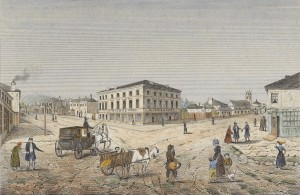 Hobart Town 1840 by E. Buchner. Courtesy Allport Library and Museum of Fine Arts, Tasmanian Archive and Heritage Office.