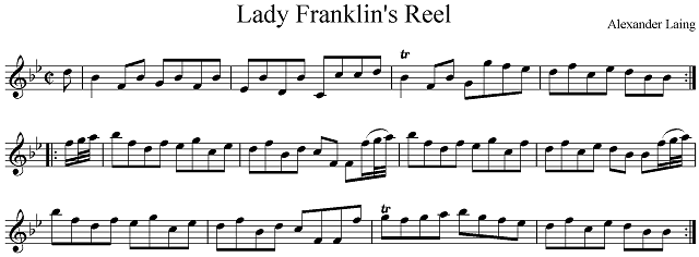 """Lady Franklin's Reel."" Transcribed by Roland Clarke from the reproduction of the original in <em>On the Fiddle From Scotland to Tasmania. The Life and Music of Alexander Laing (1792-1868) convict, Constable, Fiddler and Composer</em>."