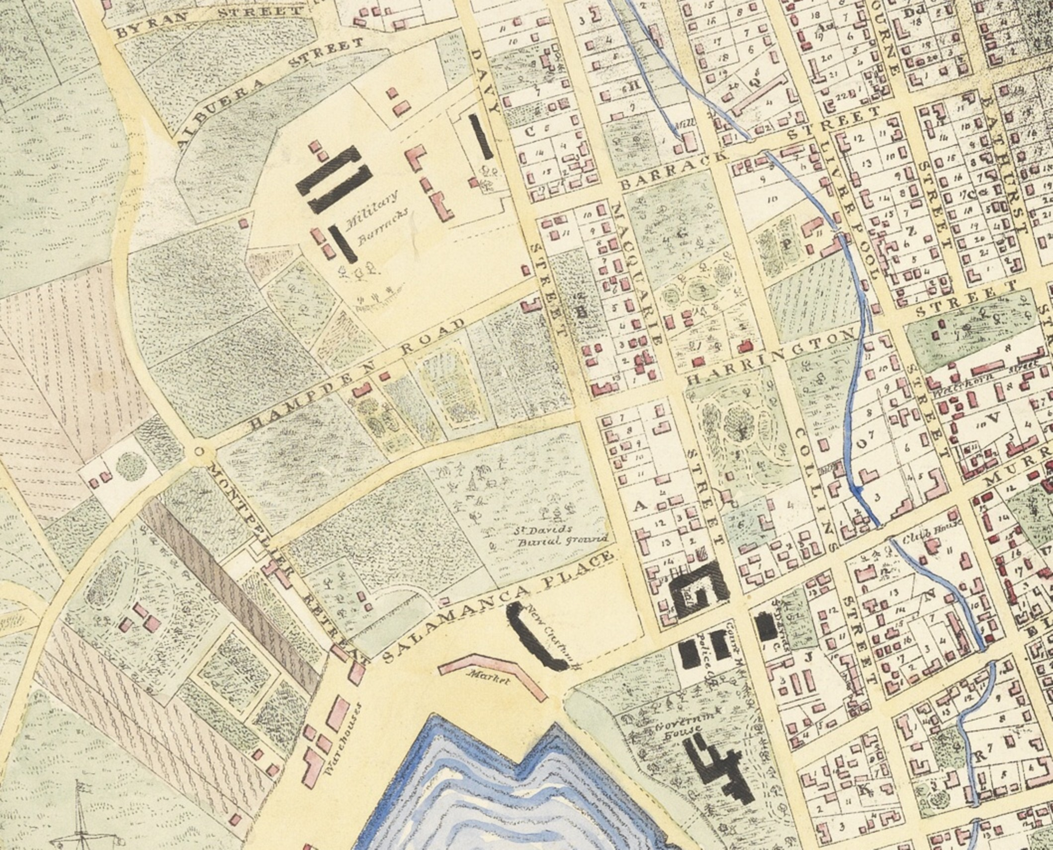 Map of Hobart, 1839. George Frankland. Allport Library and Museum of Fine Arts, Tasmanian Archive and Heritage Office