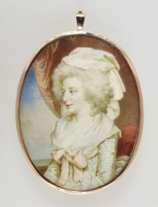 Charlotte Lennox, 4th Duchess of Richmond. This miniature shows her in 1790s fashion. By permission of the Royal Collection Trust/© Her Majesty Queen Elizabeth II 2016.