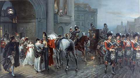 Summoned to Waterloo: Brussels, dawn of June 16, 1815 by Robert Alexander Hillingford. Image: http://www.nam.ac.uk