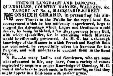 Girard's advertisement in the Sydney Gazette 5 May 1825.