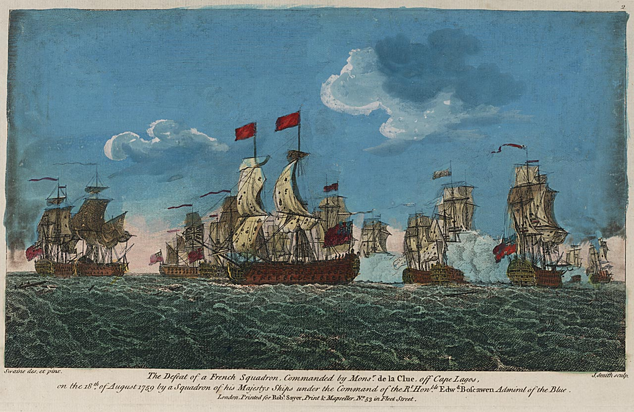 The Defeat of a French Squadron, Commanded by Monsr. de la Clue, off Cape Lagos, on the 18th of August 1759 by a Squadron of his Majestys Ships under the Command of the Rt Honble Edwd Boscawen Admiral of the Blue (PAD5260)