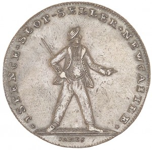 Newcastle halfpenny token commemorating the Battle of the Glorious First of June, 1794.  A sailor standing astride, his left arm extended.