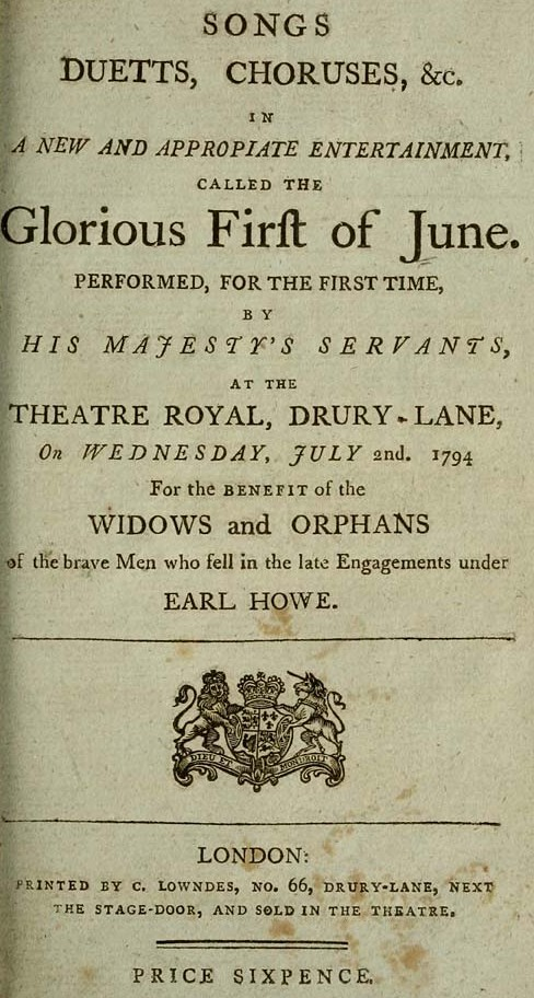 Title Page Of Songs From The Performance Glorious First June 1794