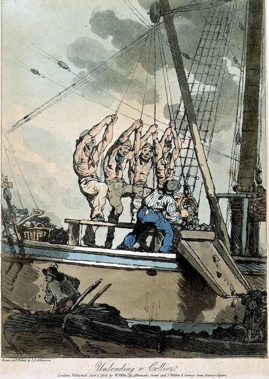 Unloading a collier. (1808) National Maritime Museum, Greenwich, London (PAD7770) https://collections.rmg.co.uk/collections/objects/111921.html