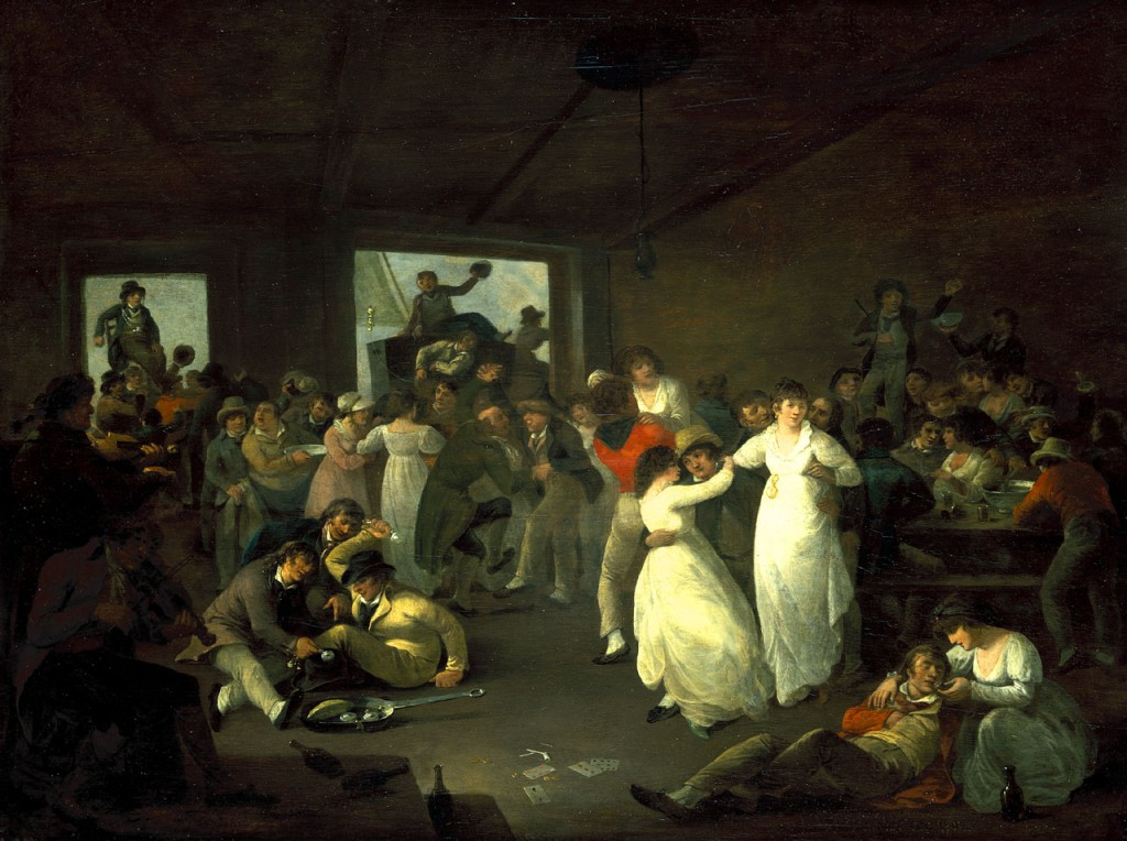 Scene in a Portsmouth tavern at after one or more ships have been paid off. Thought to be a painting of a celebration of the Battle of the Glorious First of June 1794. The room is crowded with sailors and men and women carousing. Sailors, several with their arms around women, sit on low benches around a table to the right. This bears a china punch bowl and drinking mugs, with a sailor boy dancing on it. To the left, a group are dancing to the music of the two fiddlers on the far left. Some of the dancers are in couples and others are groups of men carousing (including a sailor dancing with a Jewish pedlar, a class well-known as purveyors of frippery to seamen).