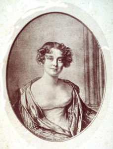 Portrait of Jane Griffin, aged 24. Later Lady Jane Franklin. Lithograph by Joseph Mathias Negelen (18 Jun 1792 - 11 Jun 1870), after 1816 chalk drawing by Amelie Romilly (21 Mar 1788 - 2 Dec 1875). Courtesy W L Crowther Library, Tasmanian Archive and Heritage Office.