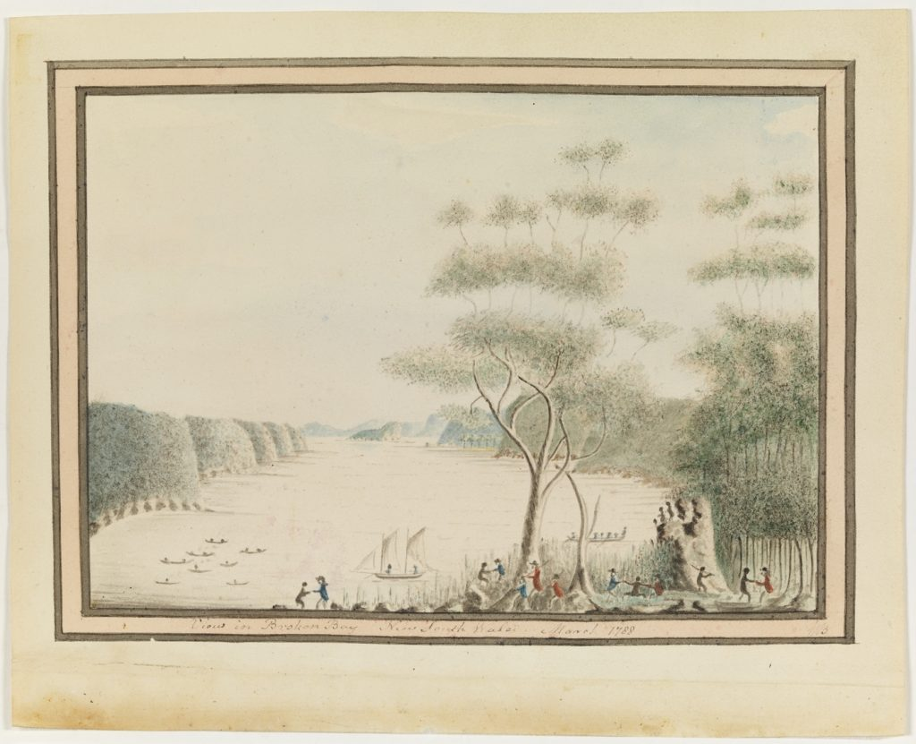 Indigenous people dancing with members of the First Fleet. View in Broken Bay / 1788. William Bradley, In his A Voyage to New South Wales Courtesy of State Library of New South Wales http://archival.sl.nsw.gov.au/Details/archive/110316551