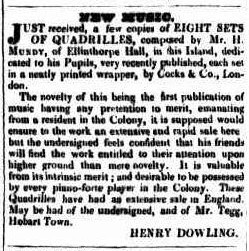 The advertisement for Mundy's Quadrille music in the <em>Launceston Advertiser </em> April 19, 1838. National Library of Australia. http://nla.gov.au/nla.news-article84755070