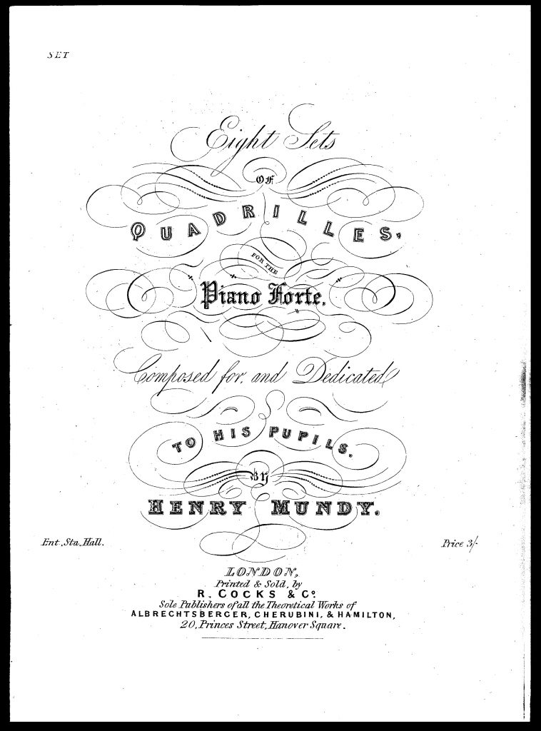Title page from the Fifth Set of Quadrilles. From Sims 2014, reproduced here by kind permission of the author; for his facsimile edition of the complete quadrilles.
