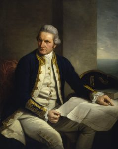 Captain James Cook (1728-1779) by Nathaniel Dance. Courtesy of National Maritime Museum, United Kingdom, Public Domain. https://commons.wikimedia.org/w/index.php?curid=18059