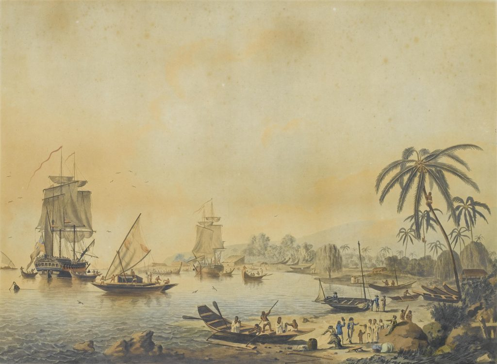 HMS Resolution and Discovery in Tahiti By John Cleveley the Younger - http://www.bonhams.com/auctions/16210/lot/1/, Public Domain, https://commons.wikimedia.org/w/index.php?curid=19961903