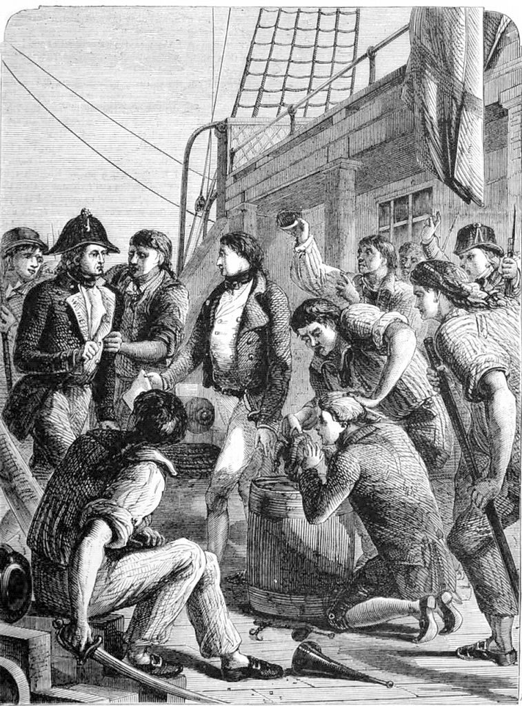 Seamen complaining of their rations, privious to the mutiny at Nore. Cassell's Illustrated History of England vol 6 (1865). https://en.wikisource.org/wiki/Page:Cassell%27s_Illustrated_History_of_England_vol_6.djvu/171