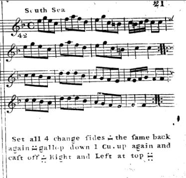 Music and dance instructions for the South Sea. Straight & Skillern, 204 Favourite Country Dances (1774). https://imslp.org/wiki/204_Favourite_Country_Dances_(Various)
