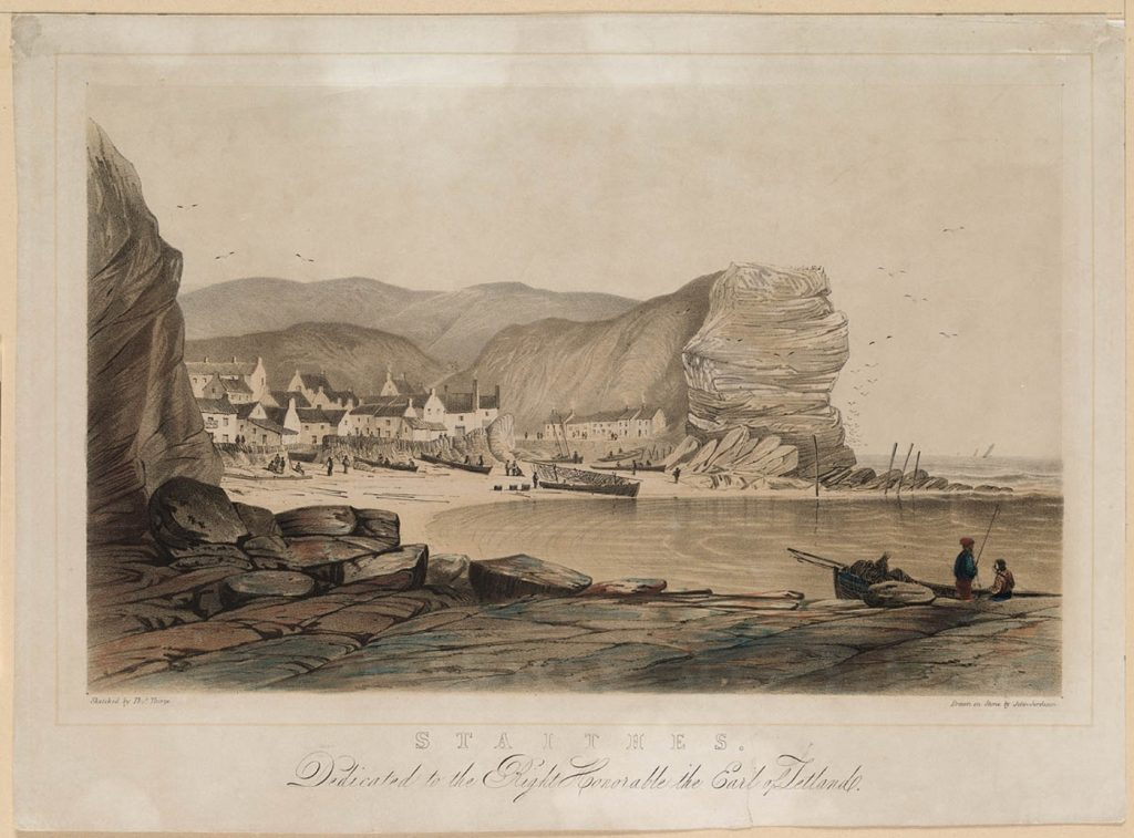 Staithes, by Thorpe, Thomas, and Jordison, John. Dedicated to the Right Honorable the Earl of Zetland / Sketched by Tho[ma]s Thorpe, Drawn on Stone by John Jordison (1840).
