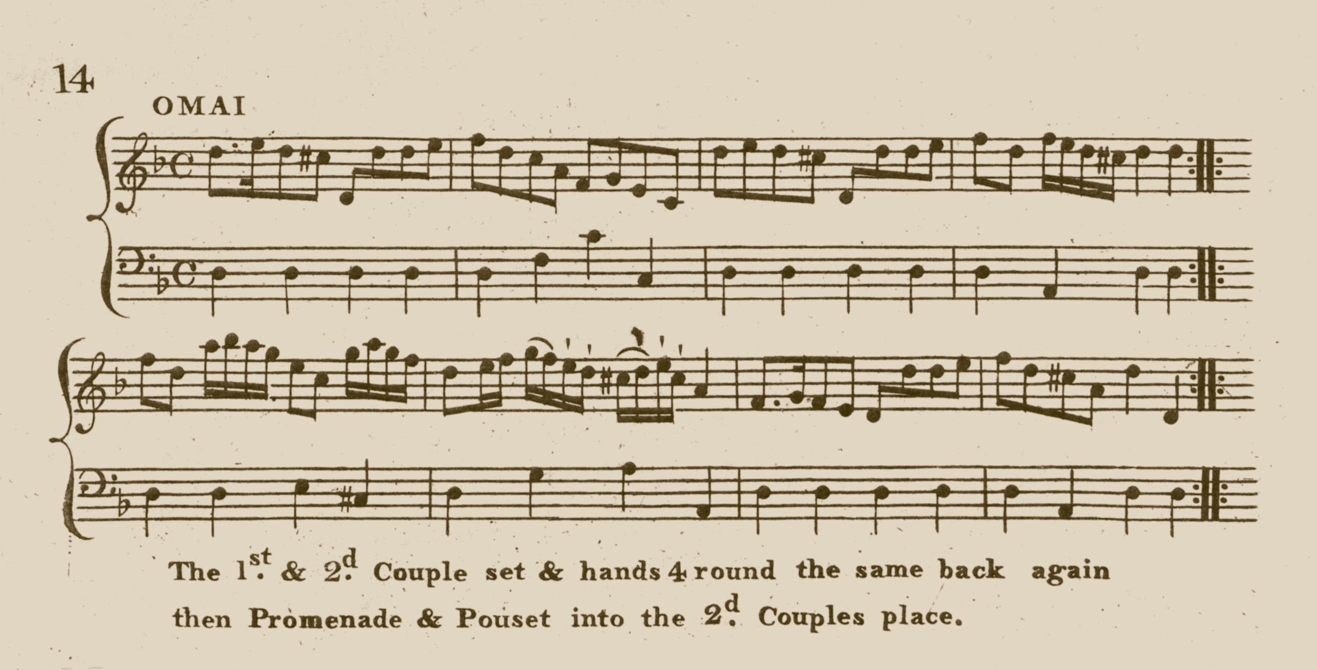 Music and dance instructions for Omai in Campbell's New and Favourite Country Dances and Strathspey, Vol 2 Page 14, c.1787. Courtesy of Kidson Collection, Mitchell Library, Glasgow