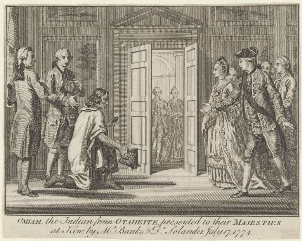 Omai at Court kneeling before King George III and Queen Charlotte, Joseph Banks and Daniel Solander in attendance. https://nla.gov.au/nla.obj-136092709/view. Courtesy of the National Library of Australia.