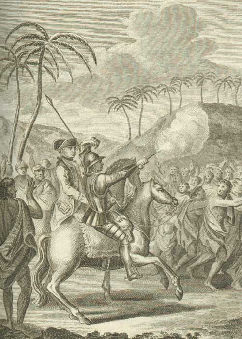 Omai's public entry on his first landing at Otaheite, showing Omai wearing armour and mounted on a horse. Courtesy of the Captain Cook Birthplace Museum, Middlesbrough Council.