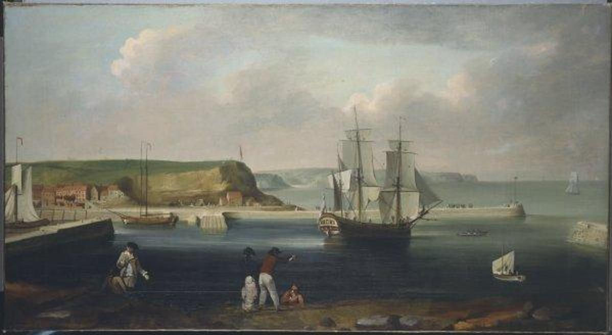 Earl of Pembroke, later HMS Endeavour, leaving Whitby Harbour in 1768. By Thomas Luny, dated 1790. https://en.wikipedia.org/wiki/HMS_Endeavour