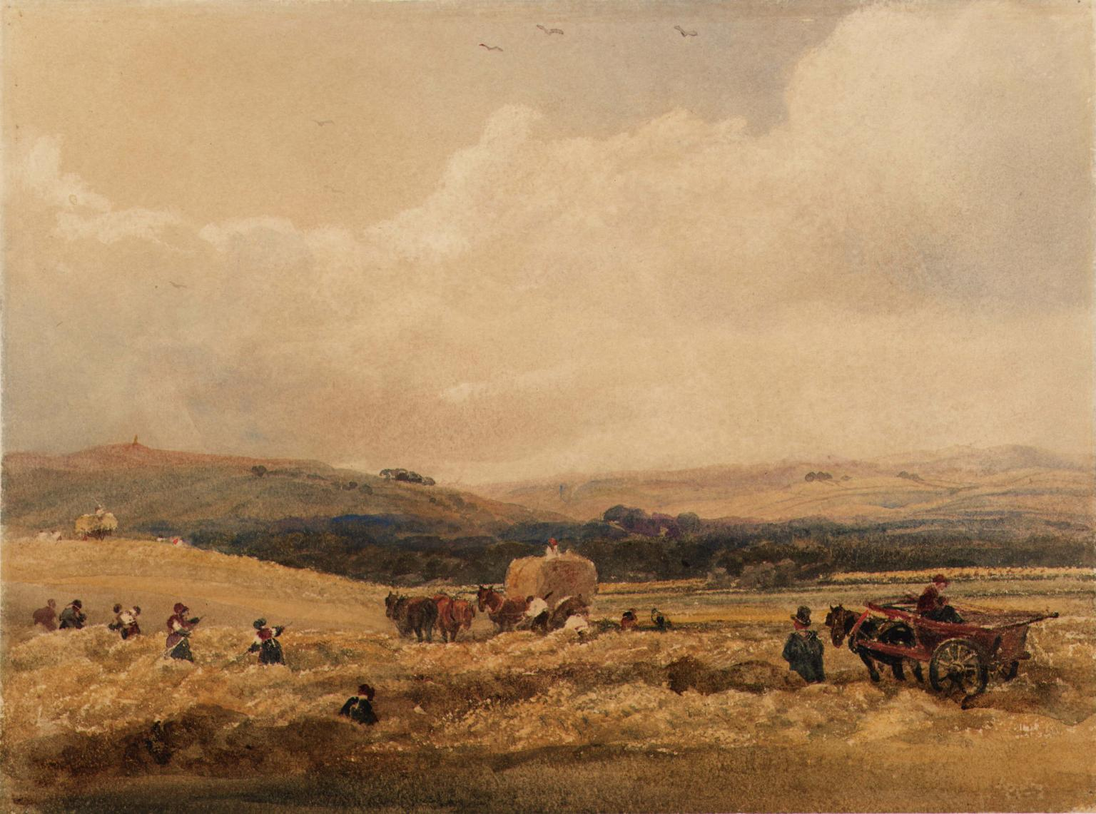 James worked as a farm boy during his early years and would have assisted his father with hay making. Artist: Peter De Wint. A Hayfield in Yorkshire. Tate (N03495) digital image © Tate released under Creative Commons CC-BY-NC-ND (3.0 Unported)
