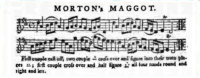 Dance instructions and score for Morton's Maggot.<br/> The Gentleman's Magazine, and Historical Chronicle, Volume 23. (1753